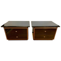 Roche Bobois Black Lacquer Nightstands, Pair Made in Italy Pierre Cardin