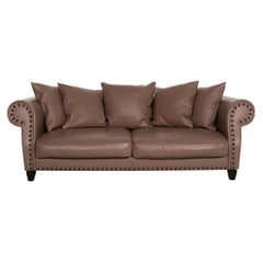 Roche Bobois Chester Chic Leather Sofa Brown Three-Seat