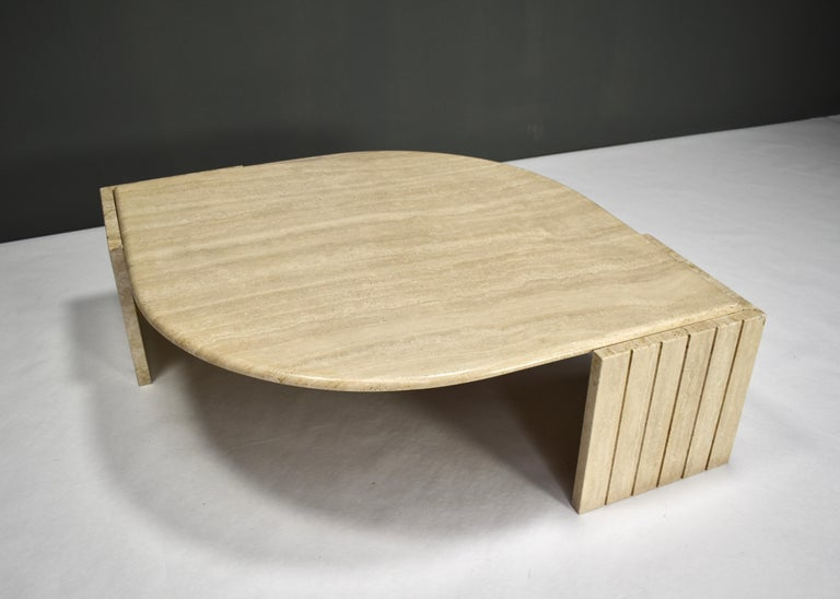 French Roche Bobois Coffee Table in Travertine, France, circa 1970 For Sale