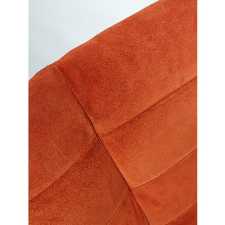 Roche Bobois French Cantilever Burnt Orange Suede Side Chairs on Chrome Bases For Sale 7