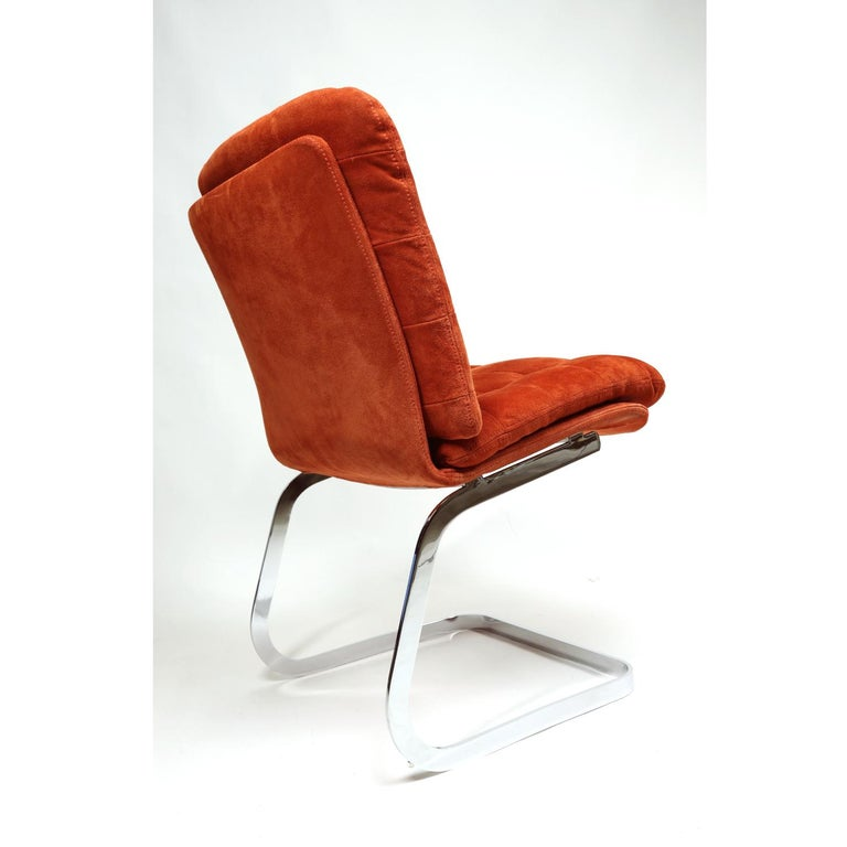 Mid-Century Modern Roche Bobois French Cantilever Burnt Orange Suede Side Chairs on Chrome Bases For Sale