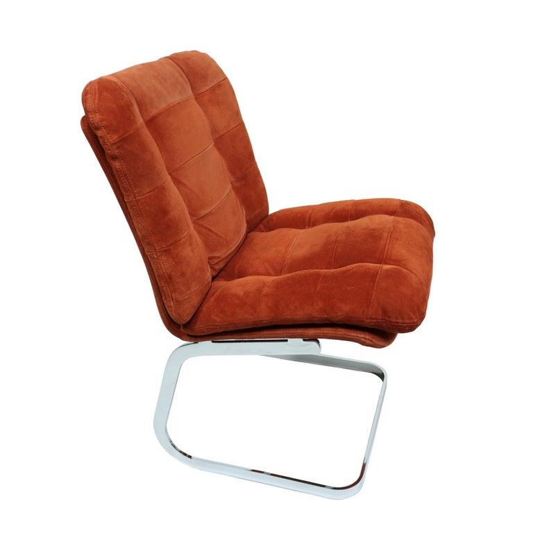 Roche Bobois French Cantilever Burnt Orange Suede Side Chairs on Chrome Bases In Good Condition For Sale In Saint Petersburg, FL