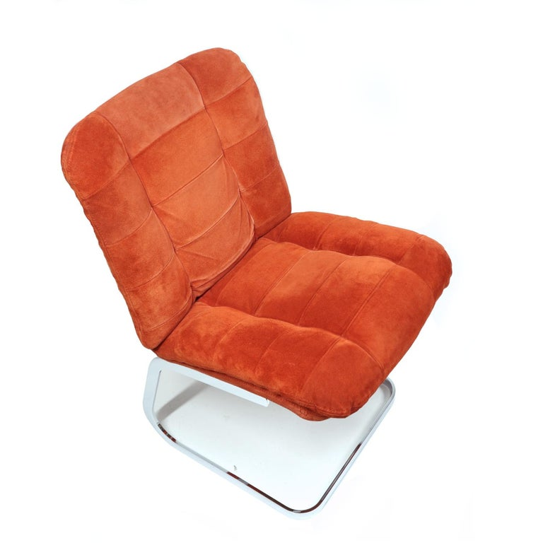 Late 20th Century Roche Bobois French Cantilever Burnt Orange Suede Side Chairs on Chrome Bases For Sale