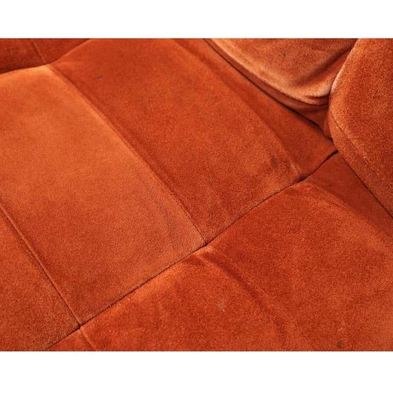 Roche Bobois French Cantilever Burnt Orange Suede Side Chairs on Chrome Bases For Sale 1