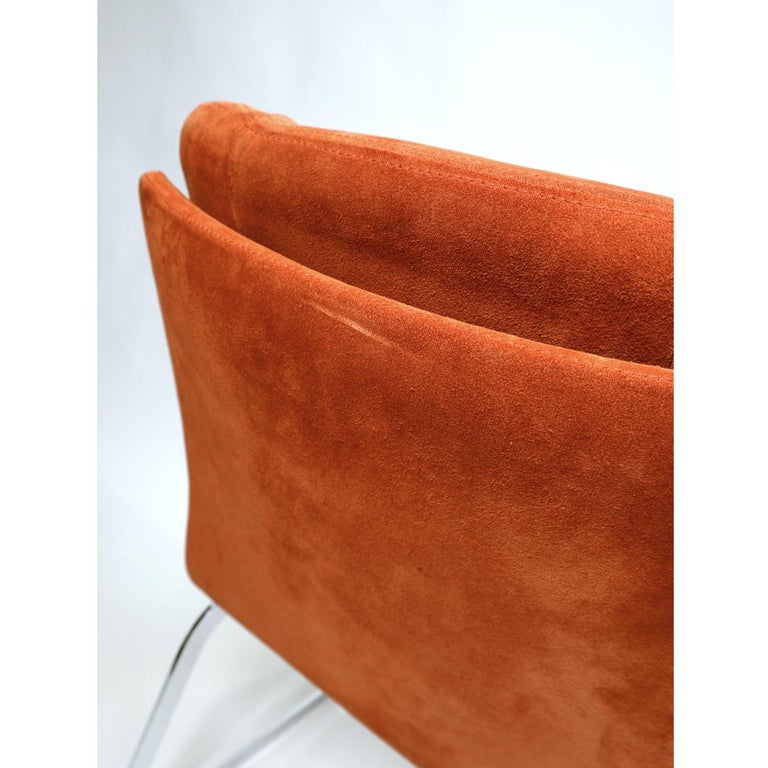 Roche Bobois French Cantilever Burnt Orange Suede Side Chairs on Chrome Bases For Sale 2