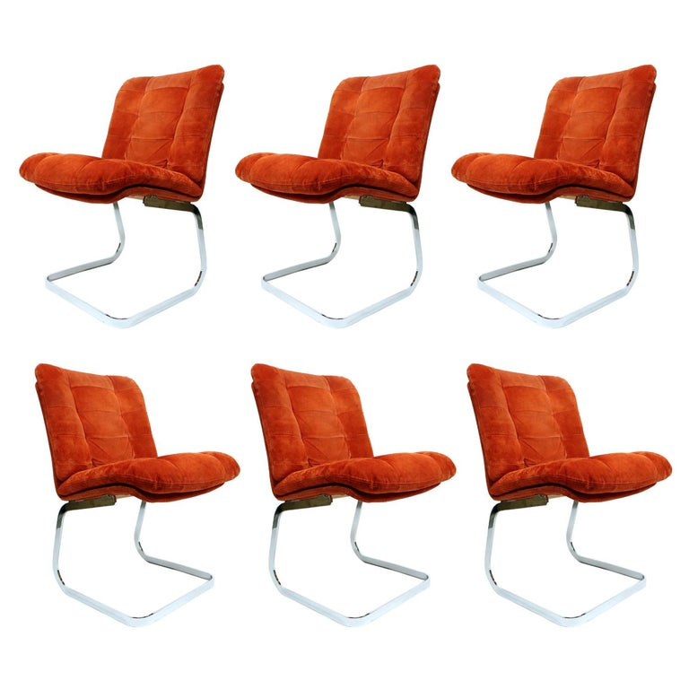 Roche Bobois French Cantilever Burnt Orange Suede Side Chairs on Chrome Bases For Sale