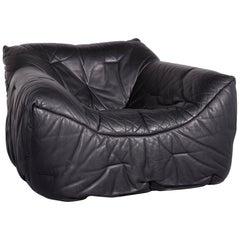 Roche Bobois Informel Designer Leather Armchair Black One-Seat Couch