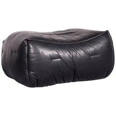 Roche Bobois Informel Designer Leather Footstool Black