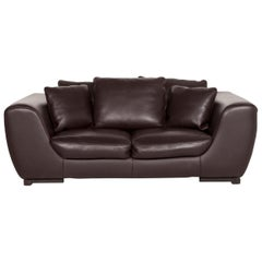 Roche Bobois Leather Sofa Brown Dark Brown Two-Seat Couch