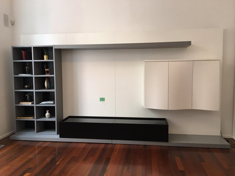 Roche Bobois media center/ wall unit with cabinets for storage and shelving. Handsome unit with plenty of storage options, and a great spot for that TV! Green box on wall is the cable box.