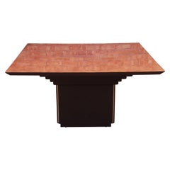 Roche Bobois Modern Art Deco Burl Wood and Black Lacquer Dining Table