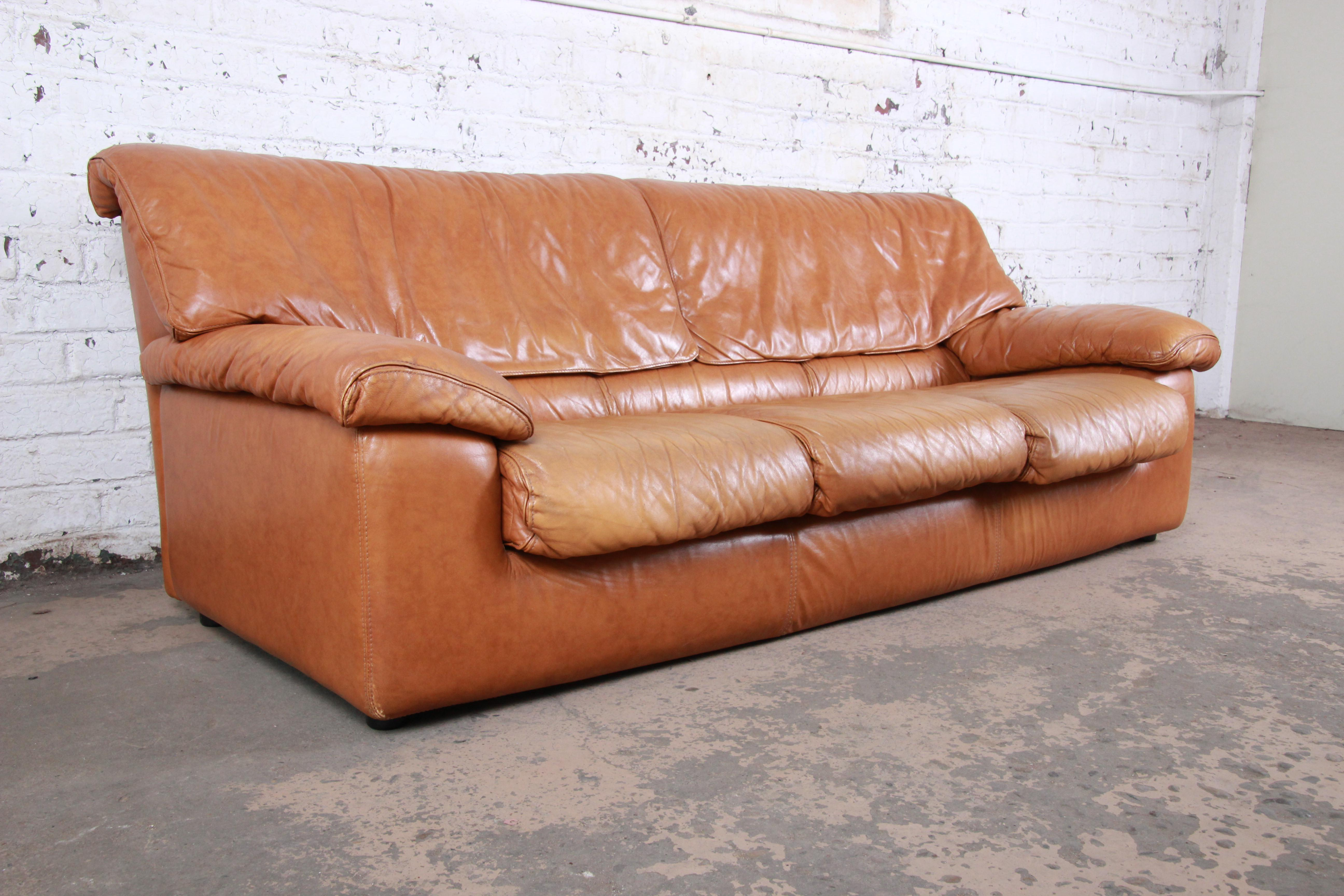 Roche Bobois Modern Brown Leather Sofa And Ottoman France