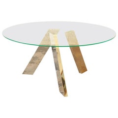 Roche Bobois Modern Sculptural Dining Table with Mirrored Chrome Legs