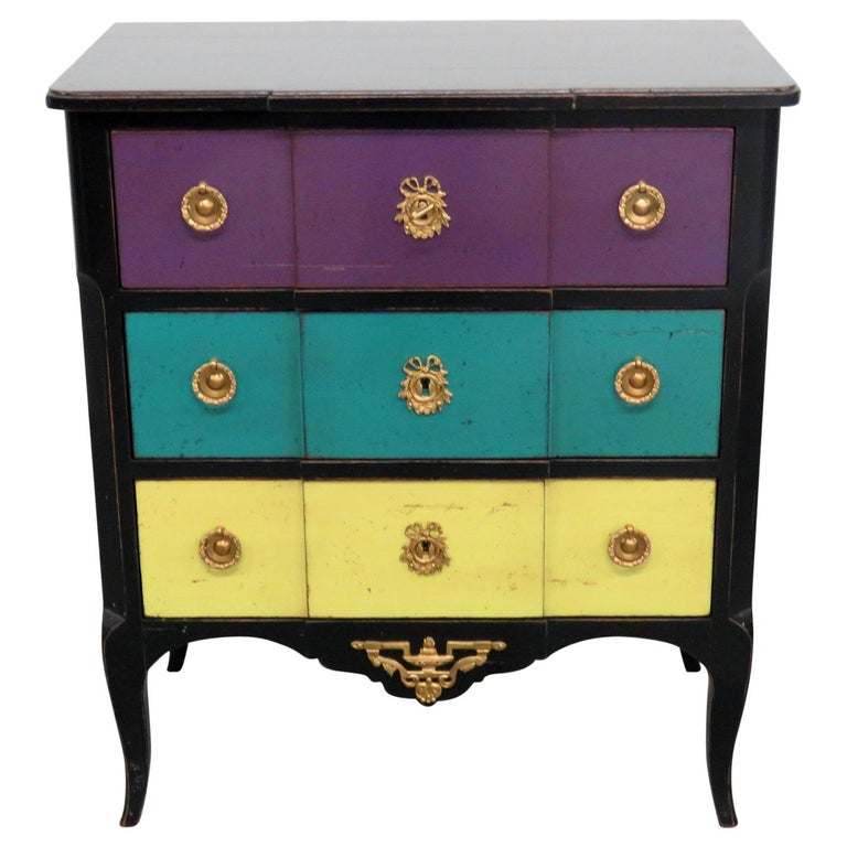 roche bobois paint decorated commode for sale at 1stdibs. Black Bedroom Furniture Sets. Home Design Ideas