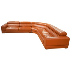 Roche Bobois Sectional 'Movement' Leather Sofa with Adjustable Seats and Backs