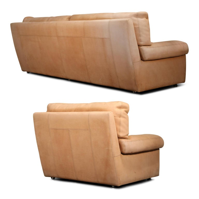 French Roche Bobois Sofa and Armchair in Nude Leather with Natural Finish, circa 1980s For Sale