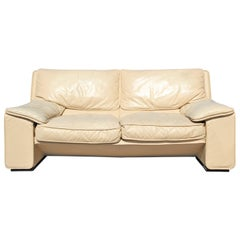 Roche Bobois Style Brunati Postmodern Italian Leather Two-Seat Sofa / Settee
