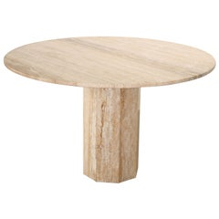 Roche Bobois Style Round Travertine Marble Dining Table, 1970s