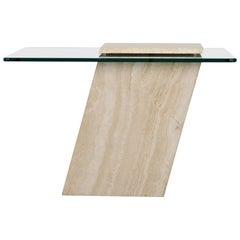 Roche Bobois Style Travertine Side Table, 1980s