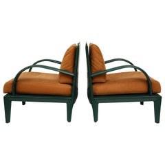 Roche Bobois Vintage Brown Green Leather Lounge Chairs, 1980s, France