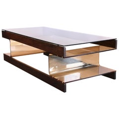 Roche Bobois Wenge Coffee Table with Smoked Acrylic Perspex and Smoked Glass Top