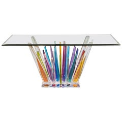 Rock Acrylic Blue Purple Yellow Multi-Color Console with Clear Beveled Glass Top