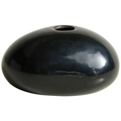 Rock Bud Vase, Short, Black Lacquer by Robert Kuo, Handmade, Limited Edition