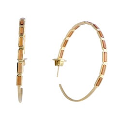 Rock Candy 18 Karat Yellow Gold Hessonite Garnet Large Hoop Earrings