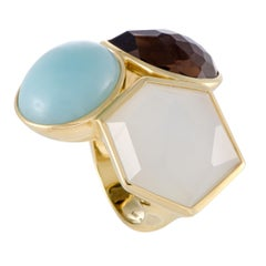 Rock Candy 18 Karat Yellow Multicolored Stones Cocktail Ring