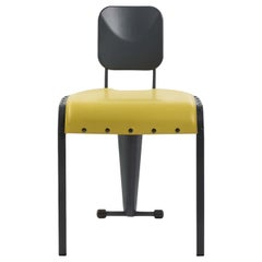 Rock Chair with Yellow Leather Seat by Marc Sadler