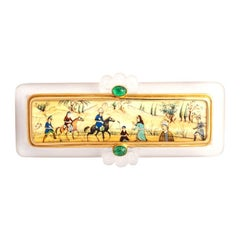 Rock Cristal Cabochon Emerald Painting Brooch