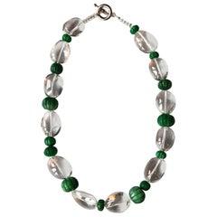Rock Cristal Emerald Pumpkins Silver Necklace