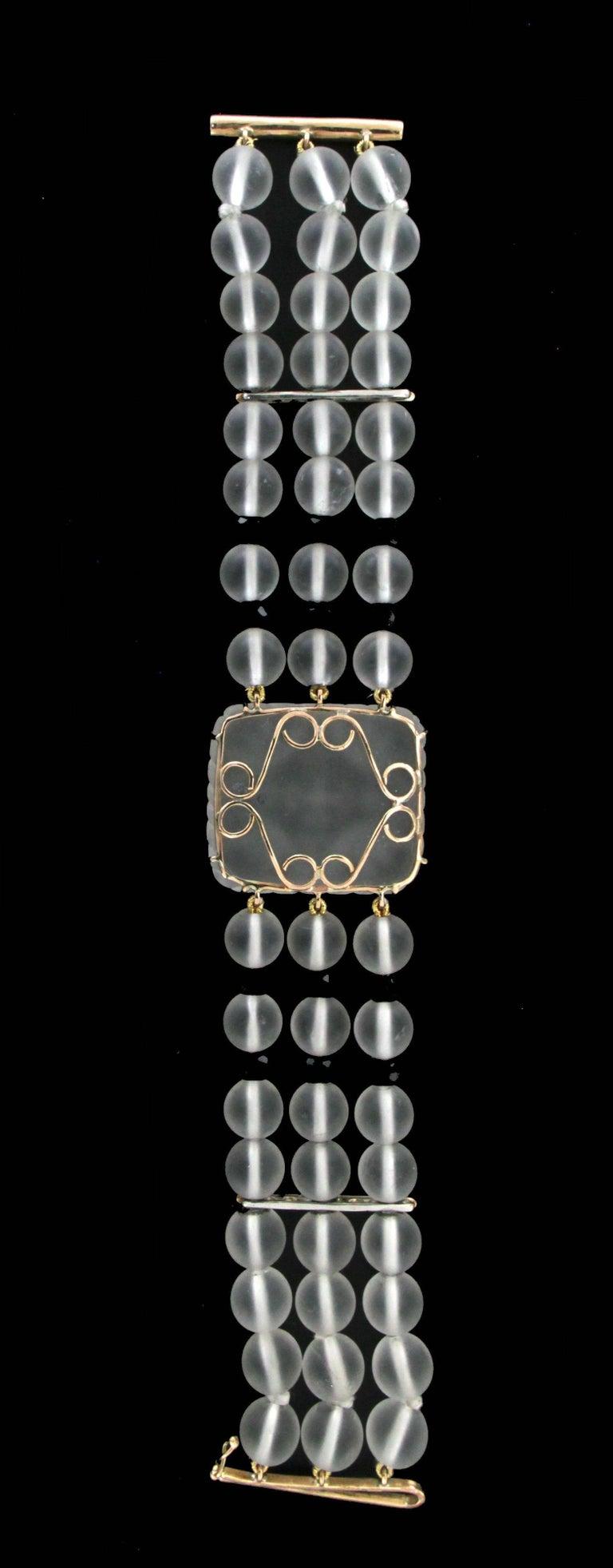 Rock crystal yellow gold 14 karat onyx diamonds cuff Bracelet  Bracelet total weight 59 grams Diamonds weight 0.08 karat