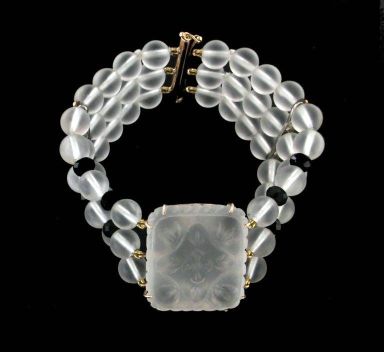 Rock Crystal 14 karat Yellow Gold Onyx Diamonds Cuff Bracelet In New Condition For Sale In Marcianise, IT