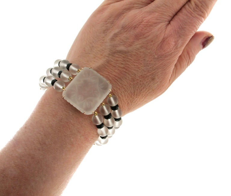 Rock Crystal 14 karat Yellow Gold Onyx Diamonds Cuff Bracelet For Sale 1