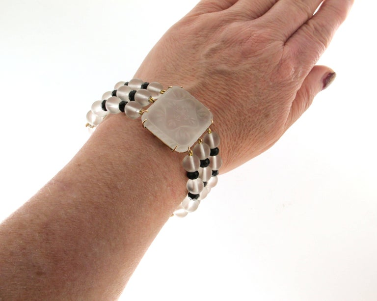 Rock Crystal 14 karat Yellow Gold Onyx Diamonds Cuff Bracelet For Sale 2