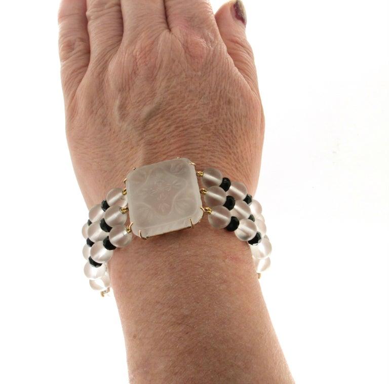 Rock Crystal 14 karat Yellow Gold Onyx Diamonds Cuff Bracelet For Sale 3