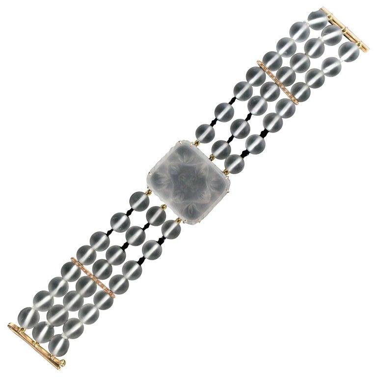 Rock Crystal 14 karat Yellow Gold Onyx Diamonds Cuff Bracelet For Sale