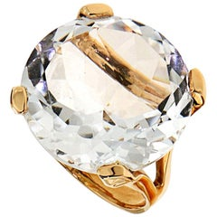 Rock Crystal 18 Karat Rose Gold Cocktail Ring Handcrafted in Italy
