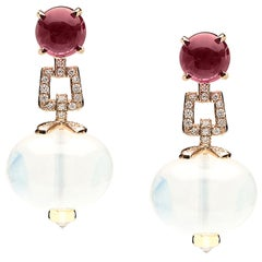 Goshwara Rock Crystal And Garnet Cabochon With Diamond Earrings