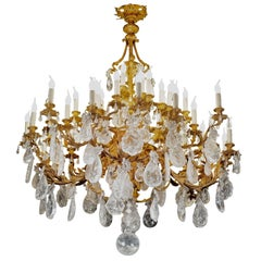 Rock Crystal and Gilt Bronze style Chandelier