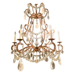 Rock Crystal and Gilt Metal Hollywood Regency Style Chandelier
