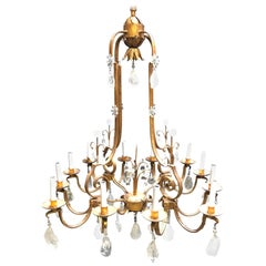 Rock Crystal and Hand Forged Iron Chandelier
