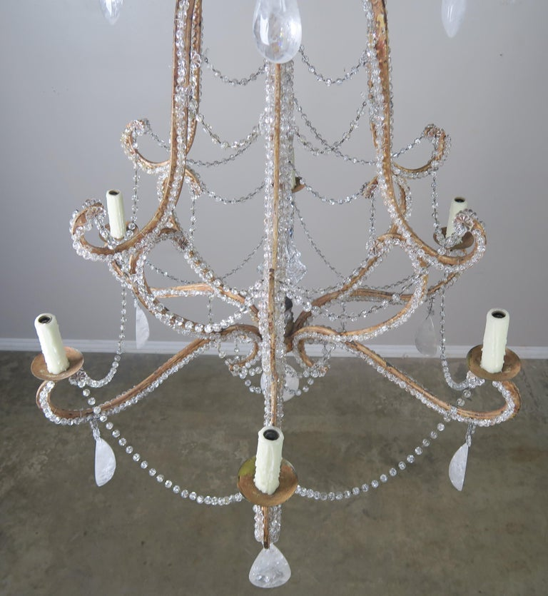 Rock Crystal Beaded Frame Chandelier with Beaded Garlands, Mid-20th Century For Sale 4