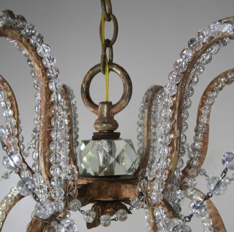 Rock Crystal Beaded Frame Chandelier with Beaded Garlands, Mid-20th Century For Sale 5