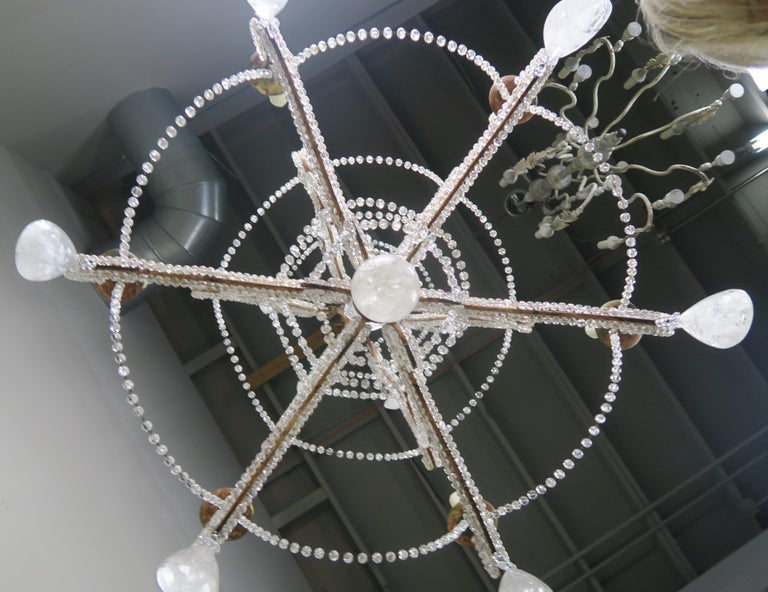Rock Crystal Beaded Frame Chandelier with Beaded Garlands, Mid-20th Century For Sale 6