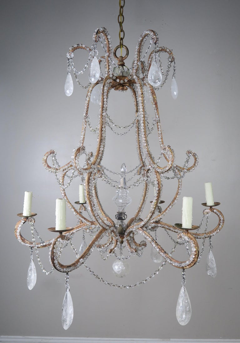 Rock Crystal Beaded Frame Chandelier with Beaded Garlands, Mid-20th Century For Sale 7
