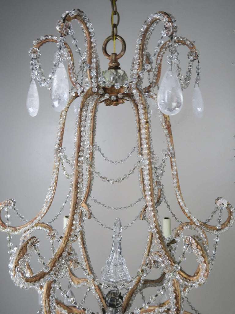 Rococo Rock Crystal Beaded Frame Chandelier with Beaded Garlands, Mid-20th Century For Sale