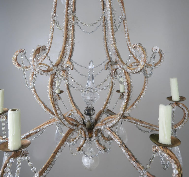French Rock Crystal Beaded Frame Chandelier with Beaded Garlands, Mid-20th Century For Sale
