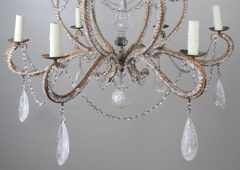 Rock Crystal Beaded Frame Chandelier with Beaded Garlands, Mid-20th Century In Distressed Condition For Sale In Los Angeles, CA